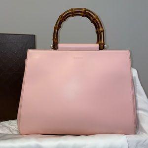 Gucci Napa Bamboo Nymphaea Top Handle Pink